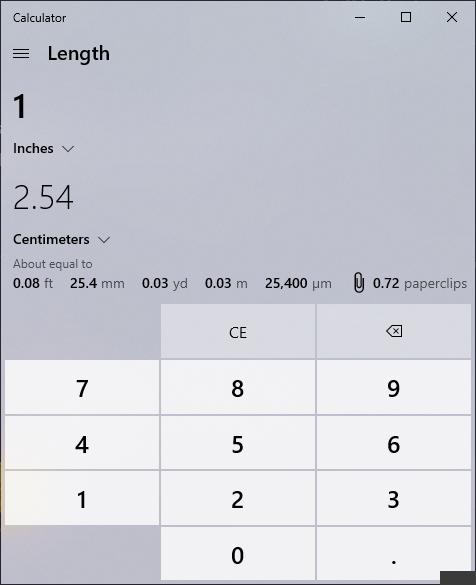แสดงการเรียกใช้ฟังก์ชั่นแปลงหน่วยในโปรแกรม Calculator ภาพที่ 2