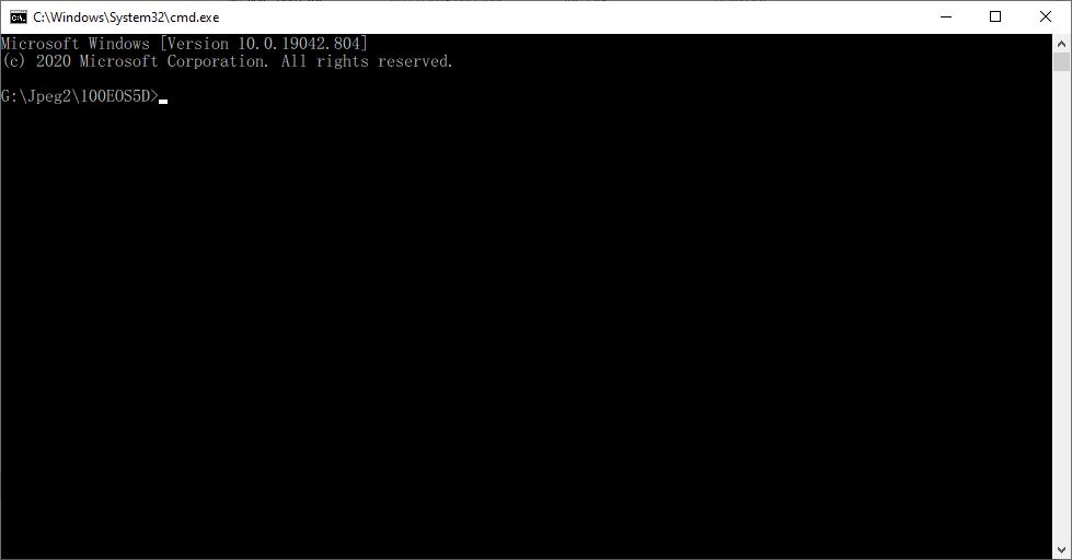 แสดงหน้าจอ DOS ที่อยู่ในโฟลเดอร์ปัจจุบัน